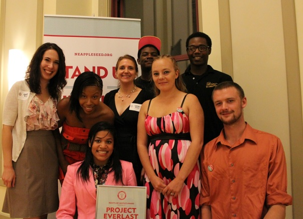 Nebraska Appleseed's Amy West and Becky Gould pose for a photo with youth from Project Everlast - Sarah Lindley, Kristina DellaCroce, Akeeme Halliburton, Kellie Mitchell, Azar Webb and Dalton Walker
