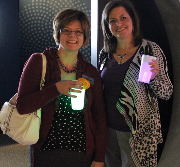 Kelly Medwick and Wendy Van pose with their luminescent beverages.