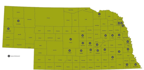 Map showing Sixpence grantee sites across Nebraska. The most recent round of grants puts the total of sites at 25.