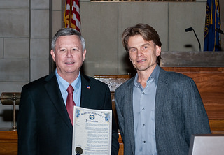 Jeff Cole joins Governor Heineman as he proclaims this week ELO week in Nebraska.