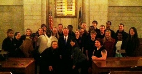 Project Everlast and GYAC youth pose for a group photo with Governor Heineman.