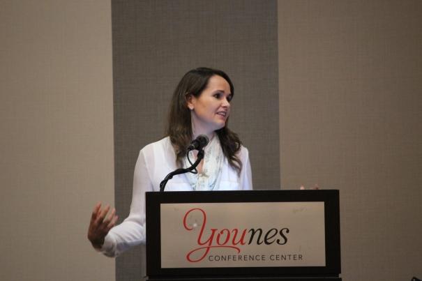 Katherine Brockman leads a guided meditation.