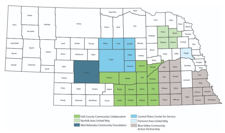 Connected Youth is a statewide initiative (see map below). CYI originated as a result of Project Everlast Omaha's early positive reception and now many of the community collaboratives provide support for youth with foster care experience. CYI's strategies include several partnered efforts in each community.