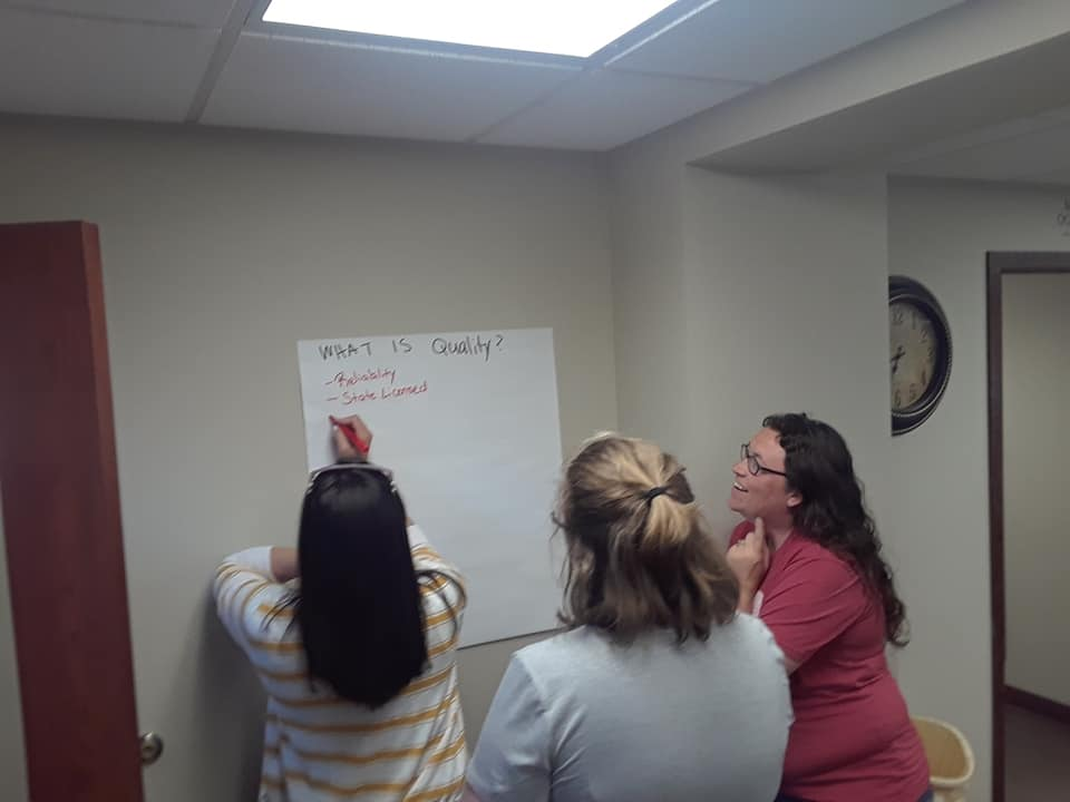 McCook providers brainstorm what quality childcare means at the C4K kick-off meeting.