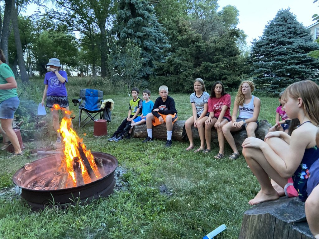 The counselors and leads held a campfire where their children attended in-person and the counselors virtually logged on for the fun.