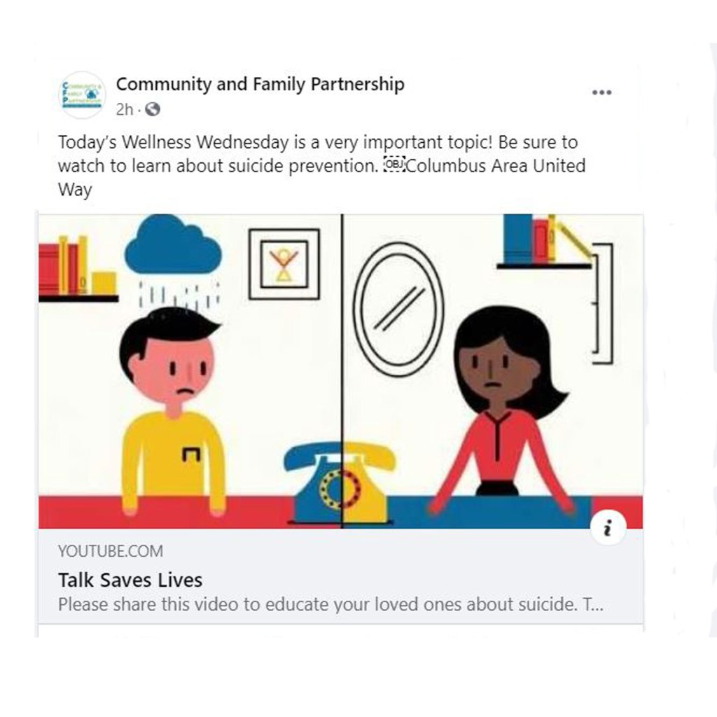 Join Community and Family Partnership for Wellness Wednesdays, a Facebook series that features mental health topics and expert advice.