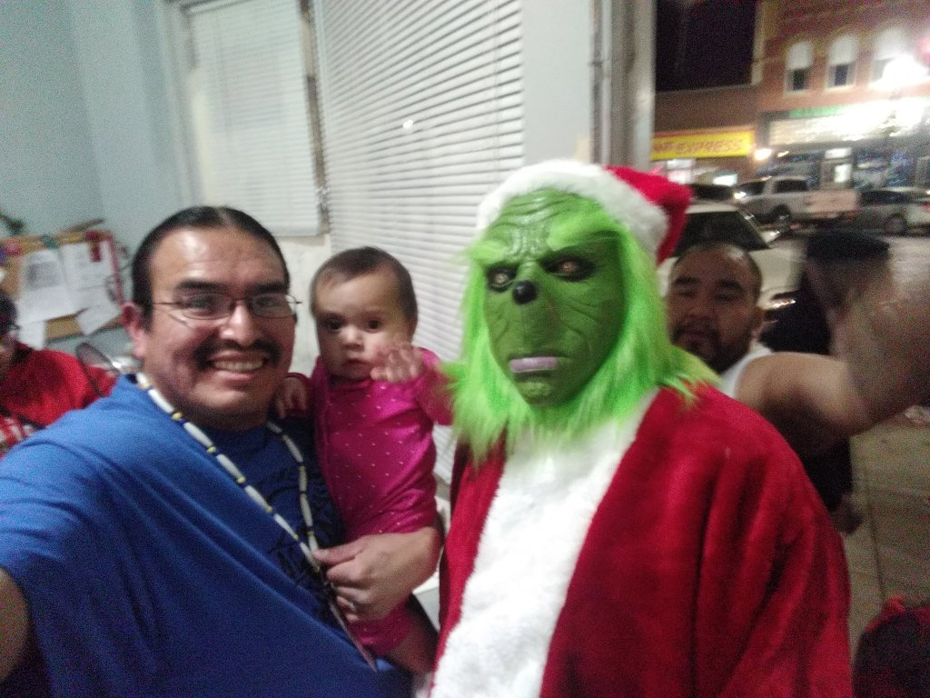 (l to r): Edison, his little one, and even The Grinch, all celebrate a wonderful several years of positive transformation!