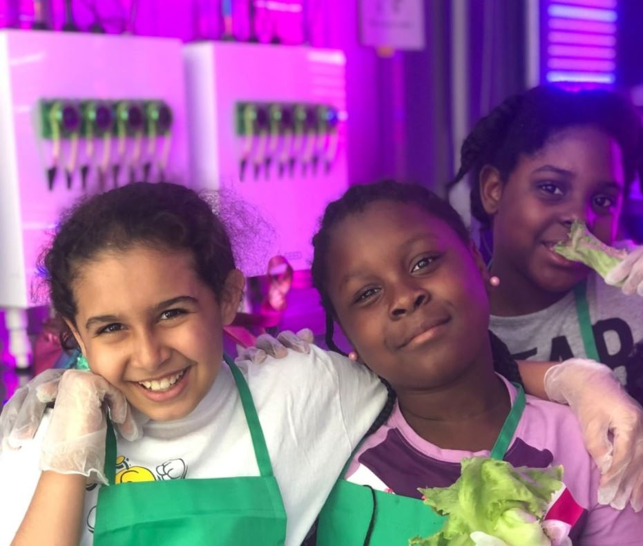Once The Greenery comes to Lincoln, Beyond School Bells and partners look forward to learning and having fun, just like these Miami-based students did, as part of Lotus House. (photo credits: Freight Farms)