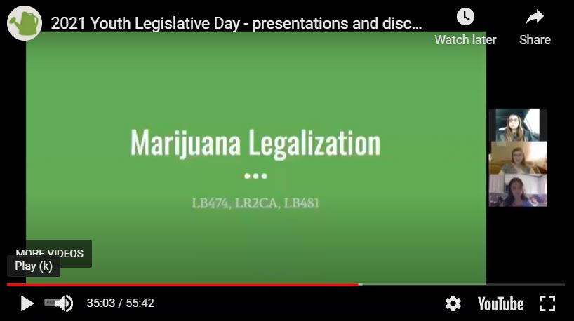 Another topic that young people presented for the Senators' Luncheon included bills in favor of medical marijuana legalization.