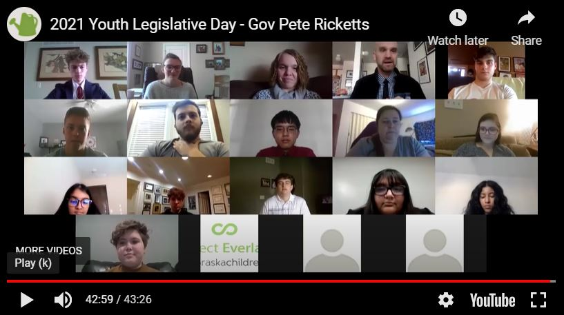 One of the highlights of Youth Legislative Days is when the leaders meet with Governor Pete Ricketts to discuss the latest news concerning the pandemic and share their stances on bills to hear his feedback.
