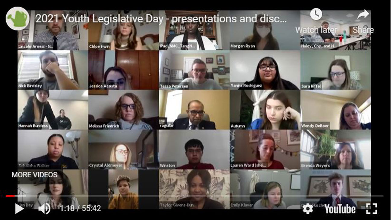 This year's Youth Legislative Days was held over Zoom. Here, over 40 young leaders came together to learn about the legislative process, speak with the governor about current events, and present their stances on bills for state senators.