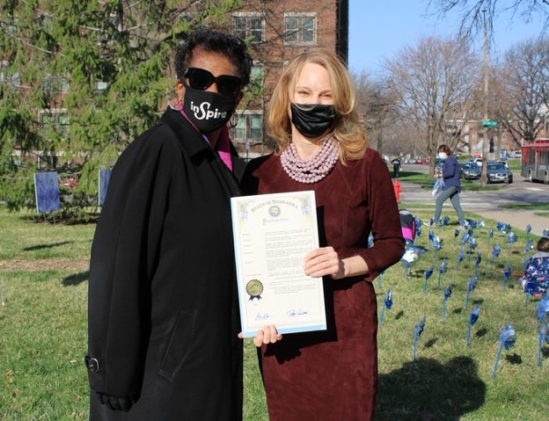 On April 2nd, several Bring Up Nebraska partner organizations, and including First Lady Susanne Shore and DHHS CEO Dannette Smith met to plant blue pinwheels on the lawn of the Governor's Residence.
