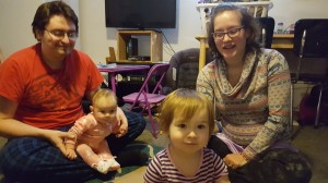 The Loos family (above) and their children engage in developmentally-appropriate, fun learning so their infant and toddlers can thrive!